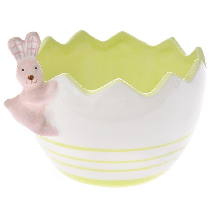 Πασχαλινό Μπολ Αυγό με Λαγουδάκι Κεραμικό 10 εκ.