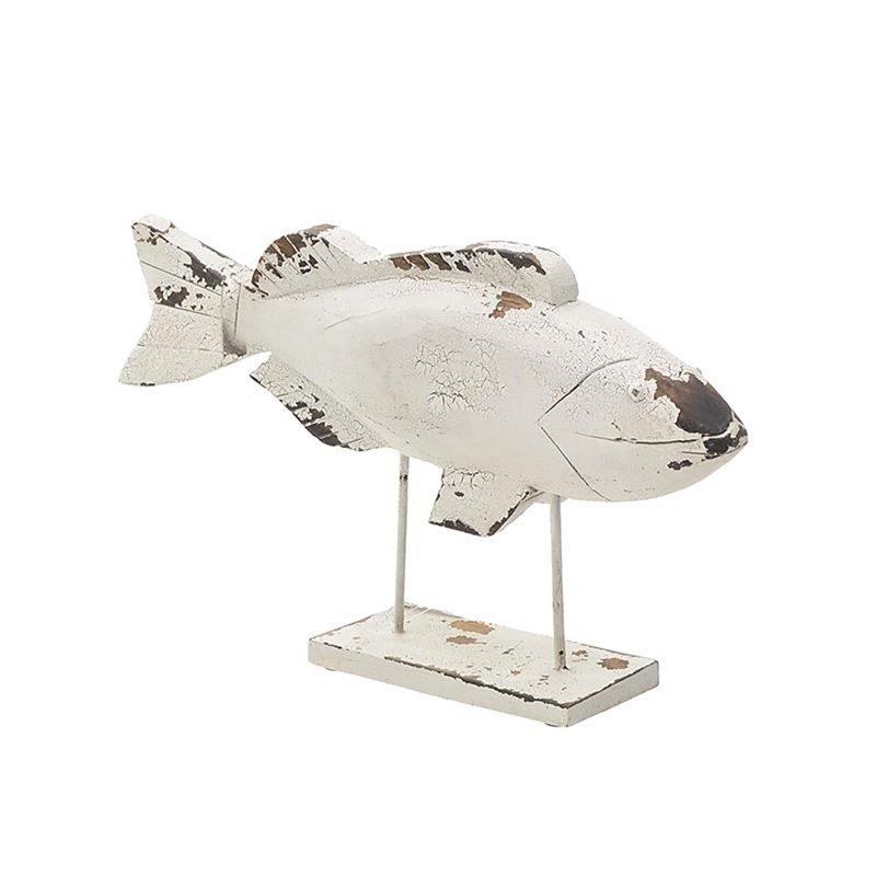 Διακοσμητικό Επιτραπέζιο Ψάρι Ξύλινο Αντικέ 59x8x36 εκ.
