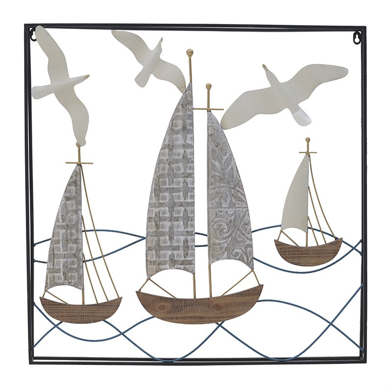 Διακοσμητικό Τοίχου Καράβι Μεταλλικό 70x5x70 εκ.