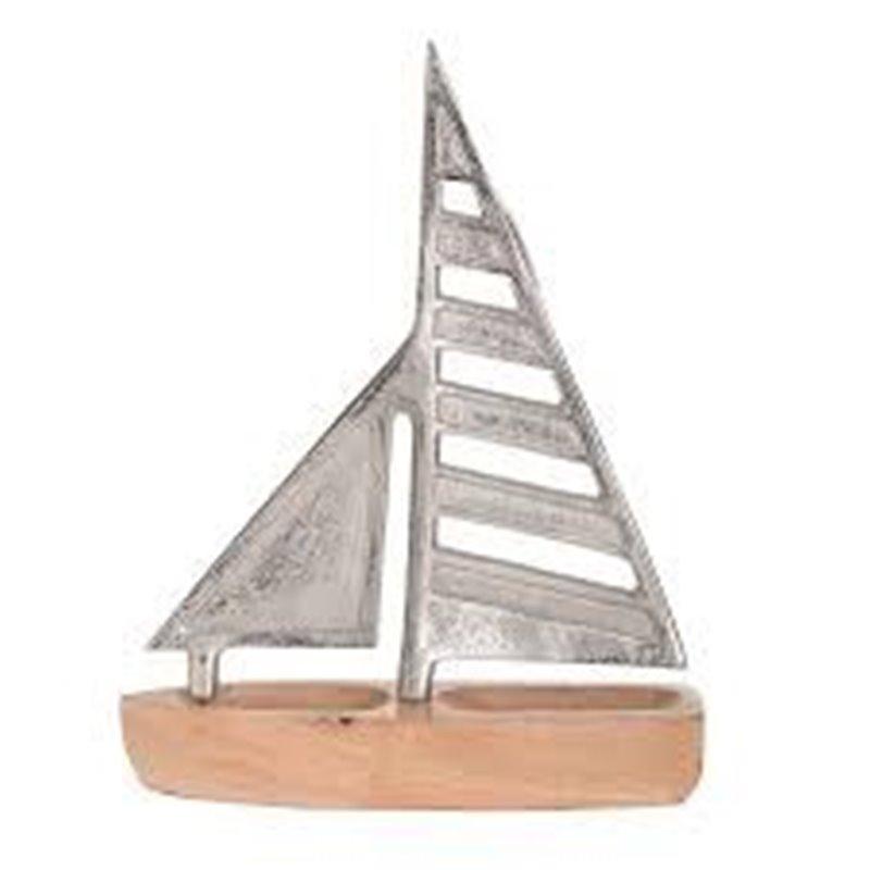 Διακοσμητικό Επιτραπέζιο Καράβι Ξύλο Μέταλλο 28x35 εκ.
