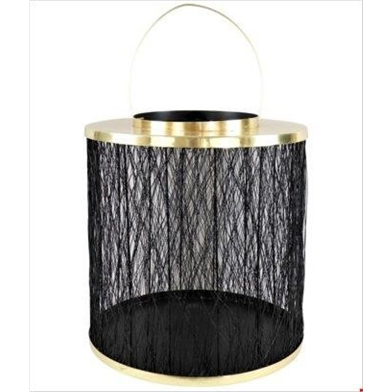 Διακοσμητικό Φάναρι Μεταλλικό Μαύρο Χρυσό 36x36 εκ.