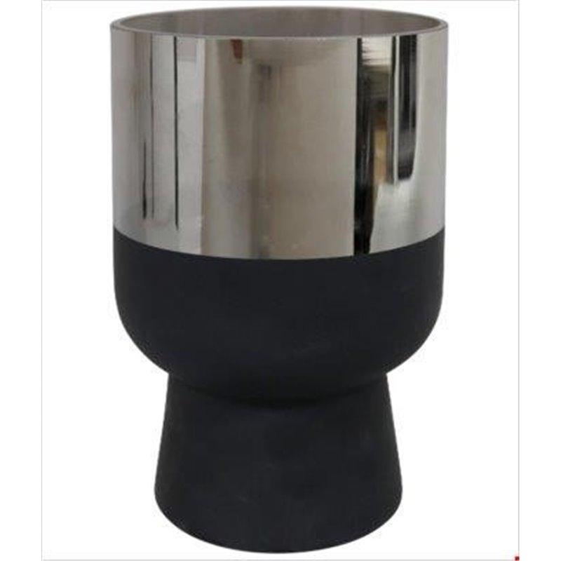 Διακοσμητικό Κασπό Κεραμικό Μαύρο Ασημί 20 εκ.