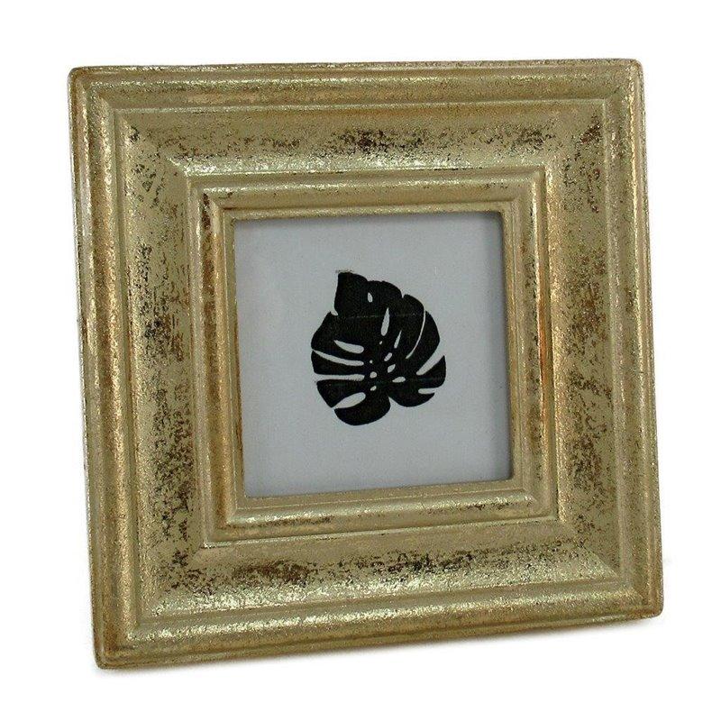 Διακοσμητική Κορνίζα Ξύλινη Χρυσό Αντικέ 13x13 εκ.