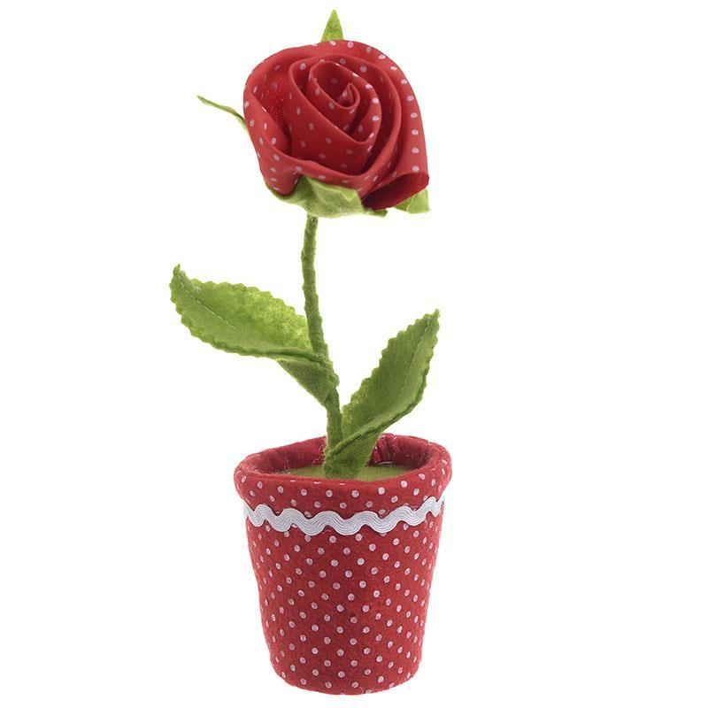 Διακοσμητικό Γλαστράκι Υφασμάτινο Τριαντάφυλλο 20 εκ.