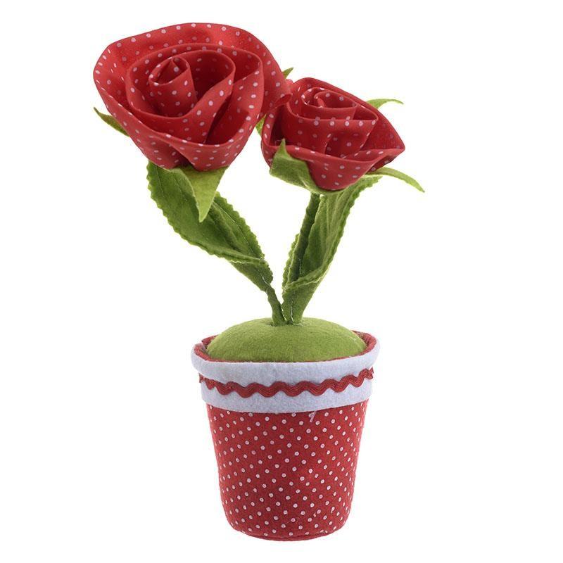 Διακοσμητικό Γλαστράκι Υφασμάτινο Τριαντάφυλλο 27 εκ.