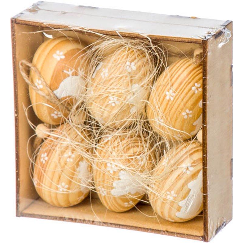 Πασχαλινά Διακοσμητικά Αυγά Ξύλινα Σετ 6 τμχ. 6 εκ.