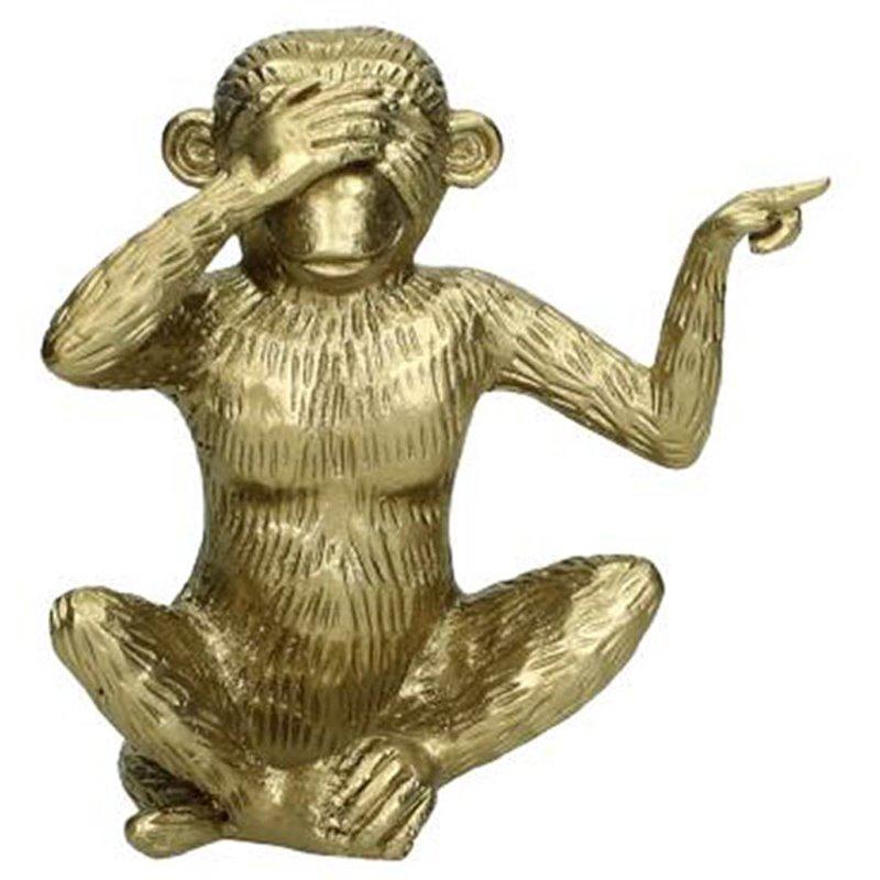 Διακοσμητικό Αγαλματίδιο Πιθηκάκι Μεταλλικό 15 εκ.