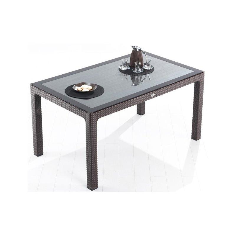 Defence Τραπέζι Κήπου Σταθερό με Τζάμι Resin Ανθρακί 150x90 εκ.