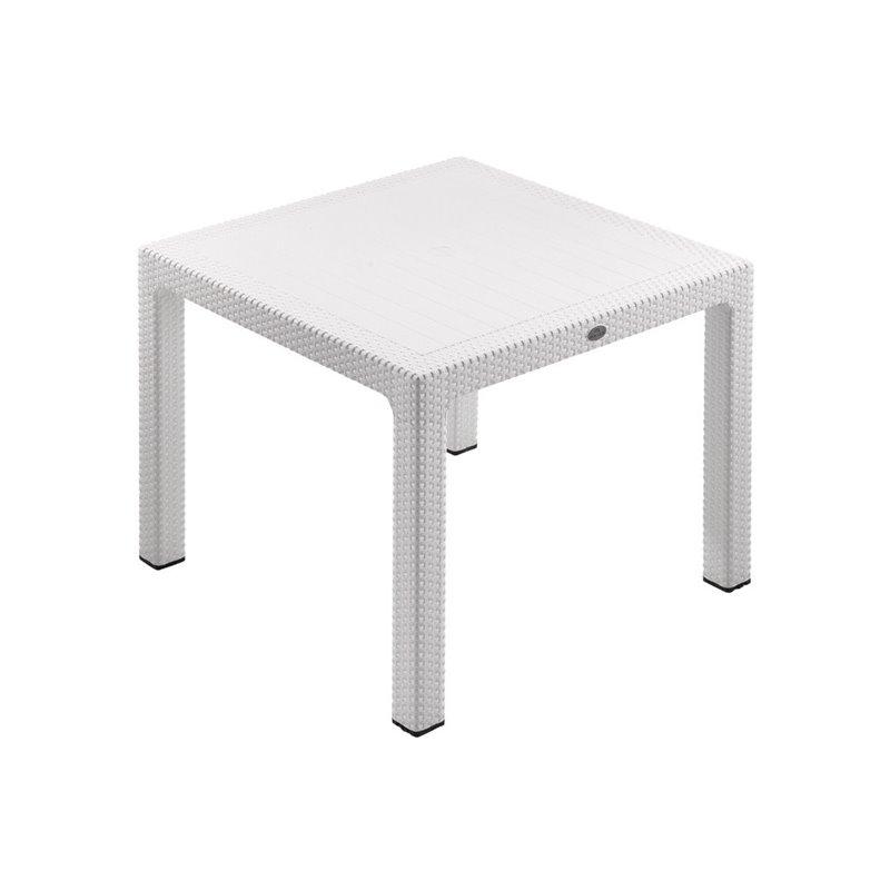 Defence Τραπέζι Κήπου Σταθερό Resin Λευκό 90x90 εκ.