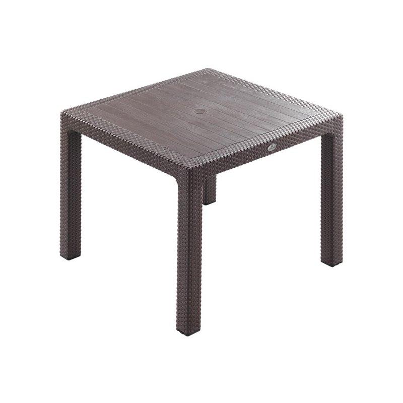 Defence Τραπέζι Κήπου Σταθερό Resin Καφέ 90x90 εκ.