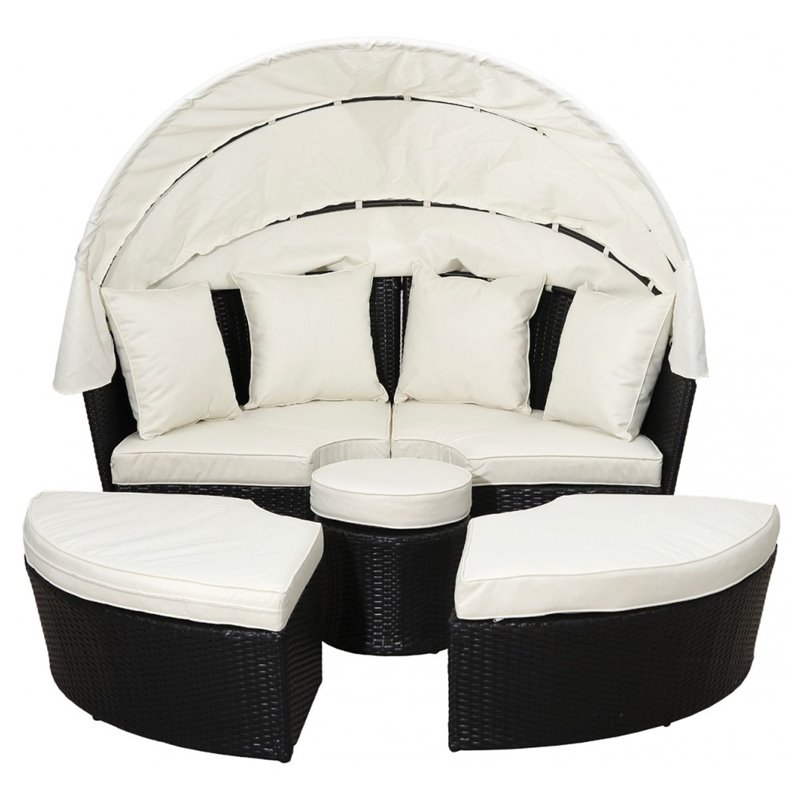 Daybed Κήπου Wicker Καφέ