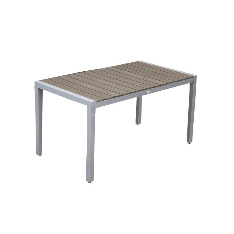 Ferrara Τραπέζι Κήπου Αλουμίνιο Polywood Γκρι 160X90x74 εκ.