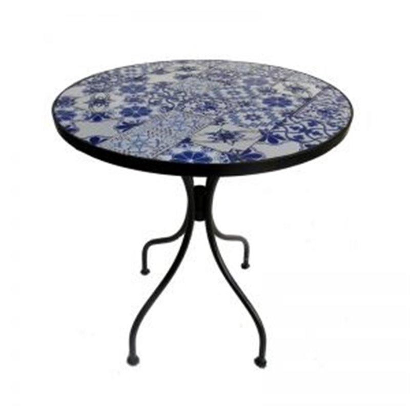 Τραπέζι Κήπου Σταθερό Steel Μωσαϊκό Top Ροτόντα Φ60x70 εκ.