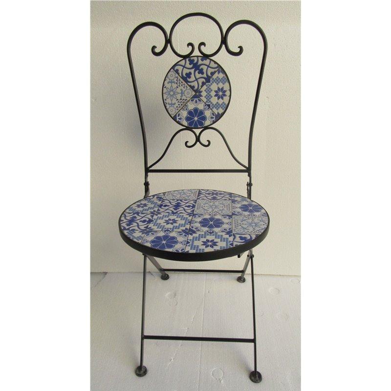Καρέκλα Κήπου Πτυσσόμενη Steel Μωσαϊκό 36x36x90 εκ.