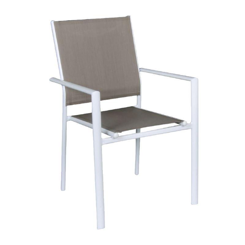 Lanson Πολυθρόνα Κήπου Στοιβαζόμενη Steel Textilene Λευκό 55x55x86 εκ.