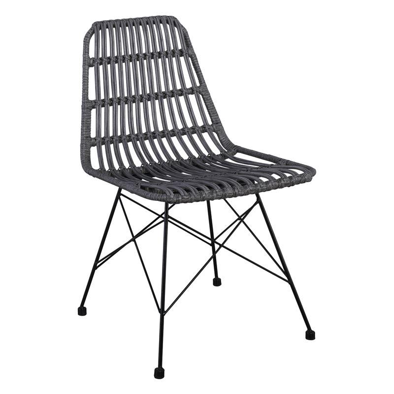 Salsa Καρέκλα Κήπου Steel Wicker Γκρι 48x59x80 εκ.