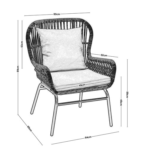 Salsa Max Πολυθρόνα Κήπου Steel Wicker Φυσικό 64x69x89 εκ.
