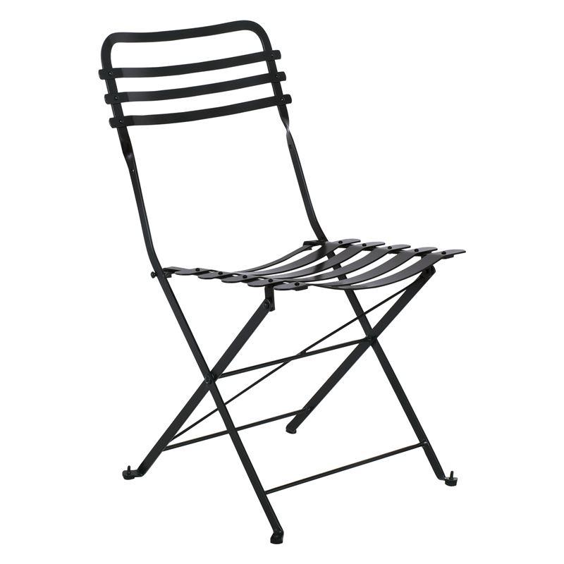 Ζαππείου Καρέκλα Κήπου Πτυσσόμενη Steel Μαύρο 45x45x84 εκ.