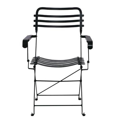 Ζαππείου Πολυθρόνα Κήπου Steel Μαύρο 56x45x84 εκ.