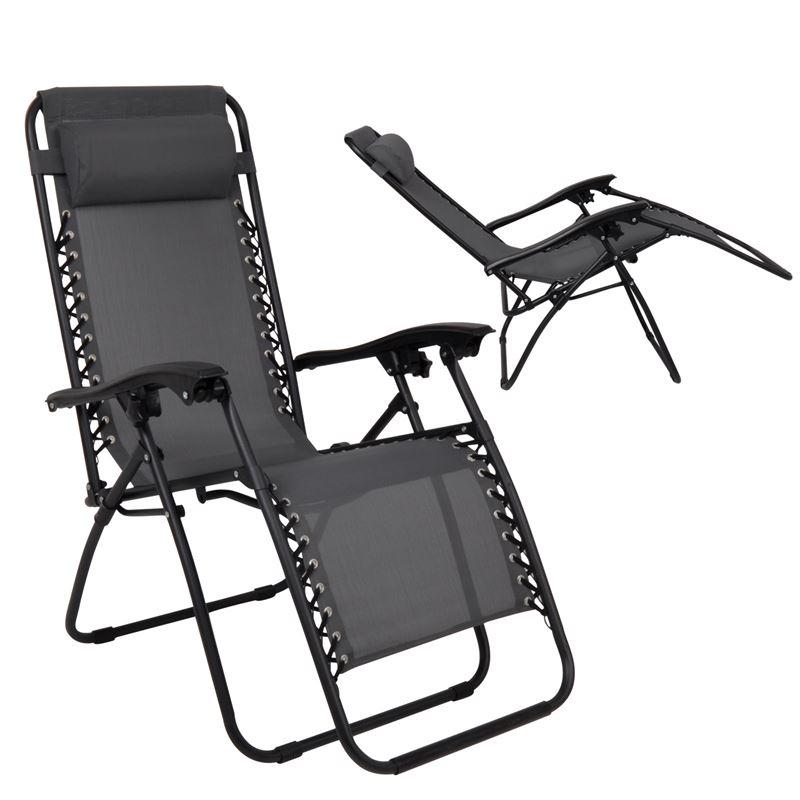 Super Relax Πολυθρόνα με Υποπόδιο Steel Textilene Ανθρακί 165x65x112 εκ.