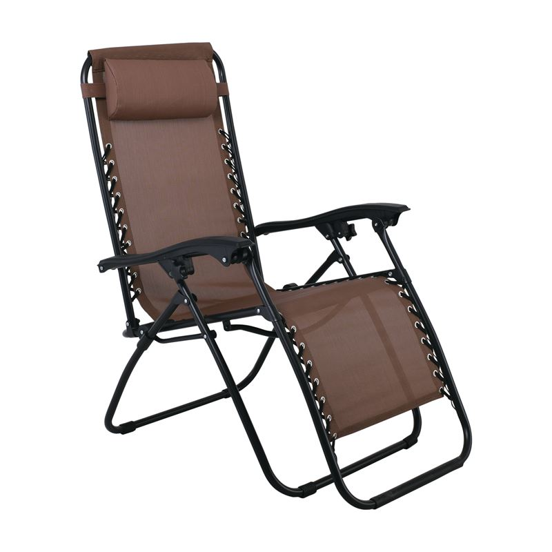 Super Relax Πολυθρόνα με Υποπόδιο Steel Textilene Καφέ 165x65x112 εκ.