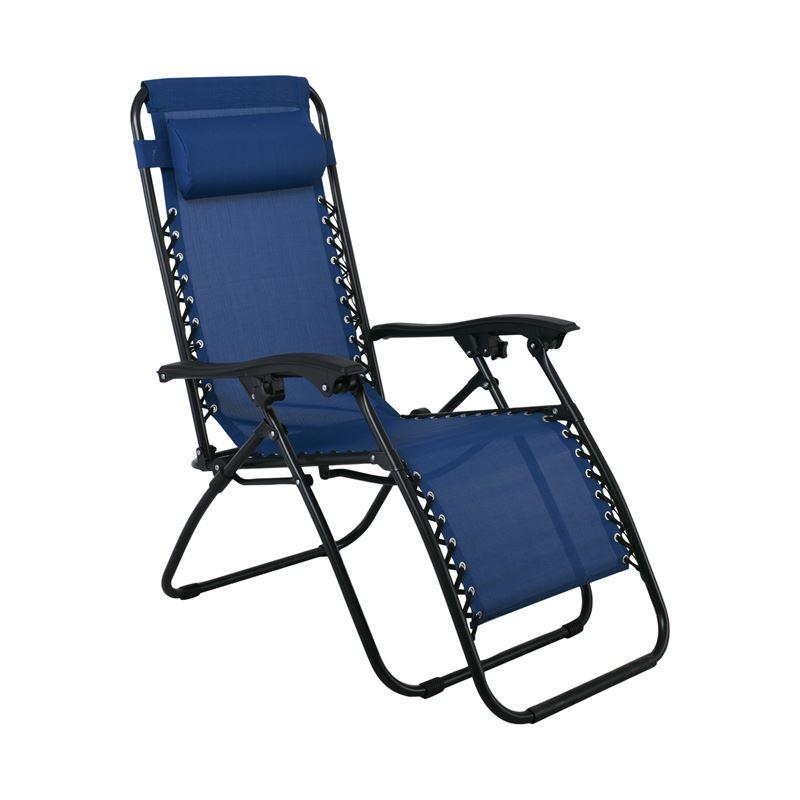 Super Relax Πολυθρόνα με Υποπόδιο Steel Textilene Μπλε 165x65x112 εκ.