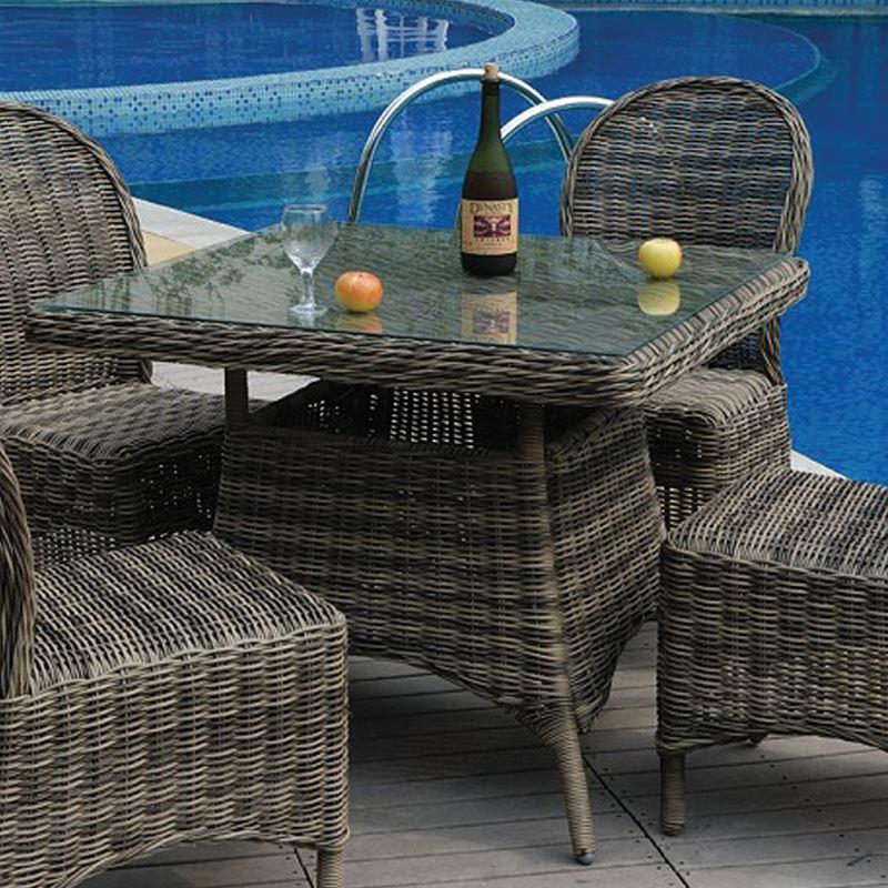 Montana Τραπέζι Κήπου Wicker Grey Brown Τετράγωνο 90x90x75 εκ.
