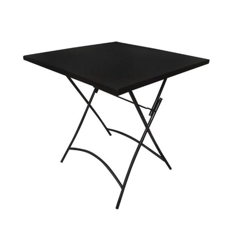 Park Τραπέζι Κήπου Πτυσσσόμενο Steel Μαύρο Τετράγωνο 70x70x71 εκ.