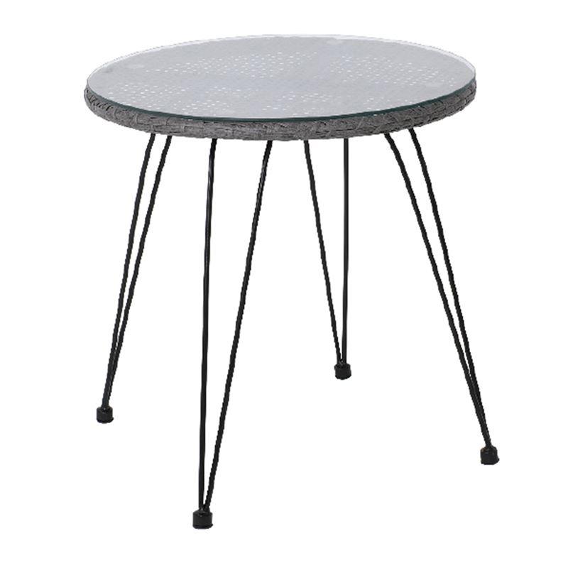 Salsa Τραπέζι Κήπου Steel Wicker Γκρι Ροτόντα Φ52x53 εκ.