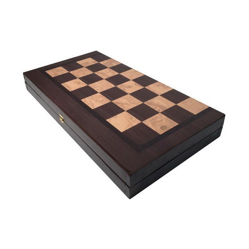 Τάβλι-Σκάκι δίχρωμο οξιά με εκτύπωση καρυδιά 30 Χ 15cm